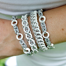 Load image into Gallery viewer, The Byz Stretch Bracelet in White + Silver