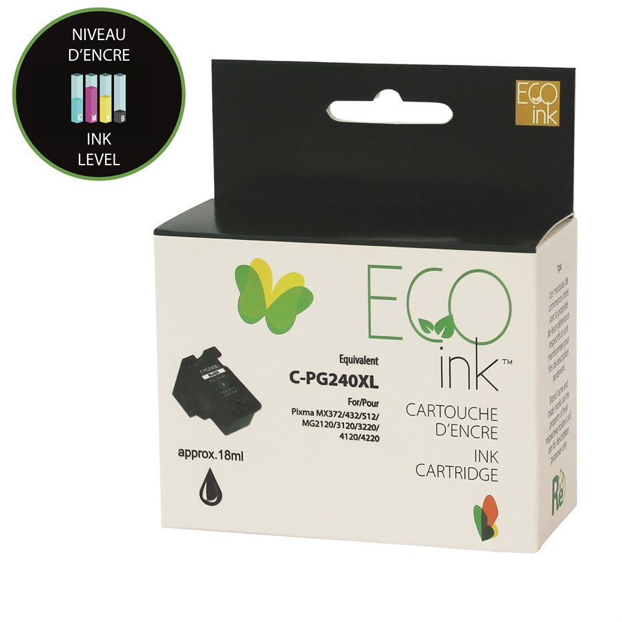 Canon PG-240 XL Remanufactured Black EcoInk With ink level Indicator
