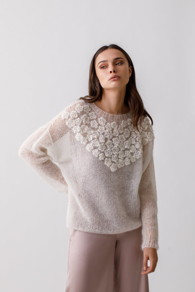 Hand Knitted Sweater With Crochet Flower Applique