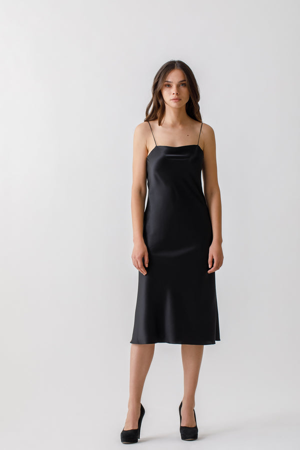 Bias-cut  midi silk dress