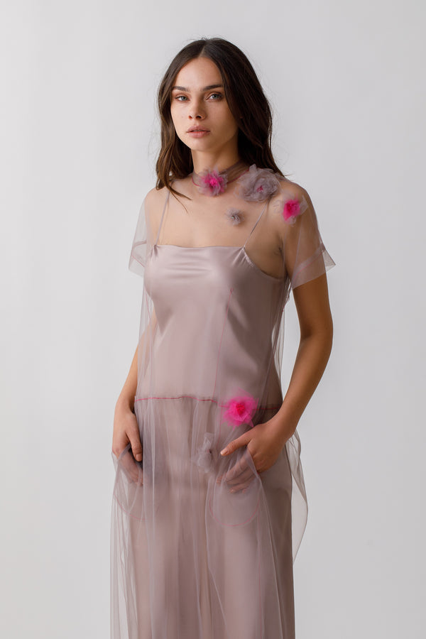 Sheer tulle dress with pockets and handmade flowers