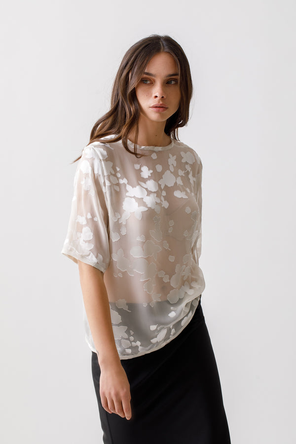 Silk short sleeve devore blouse