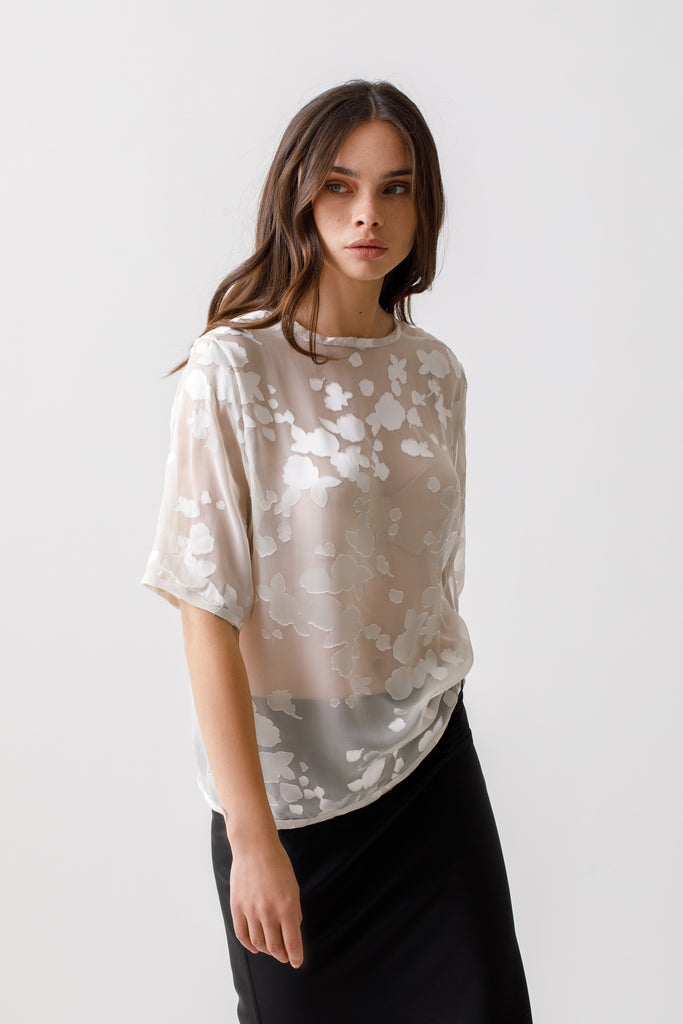 Silk Short Sleeve Shirt - Devore Blouse