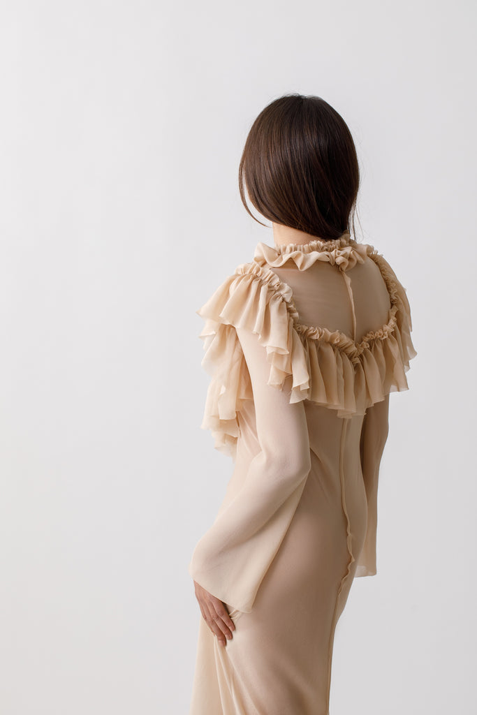 Ruffle Dress With Long Sleeves