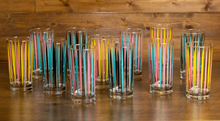 Load image into Gallery viewer, Atomic Drinkware Cosmic Rays Collins Glasses Aqua & Black Set of 4