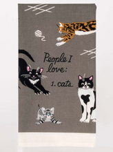 Load image into Gallery viewer, Blue Q People I Love Cats Dish Towel