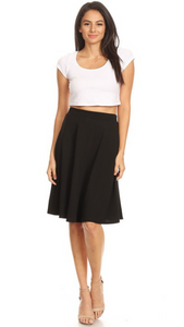 High Waisted Swing Skirt Black