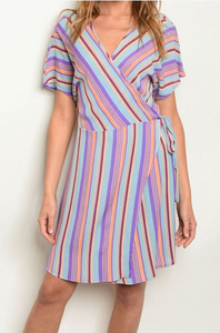 Striped Wrap Dress Blue