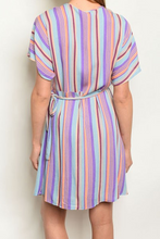 Load image into Gallery viewer, Striped Wrap Dress Blue