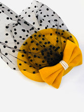 Load image into Gallery viewer, Fascinator Hat w/Bow & Pearls Mustard