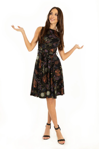 Miss Lulo Ruby Floral Knit Dress Black