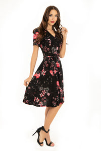 Miss Lulo Zoey Floral Dress Black
