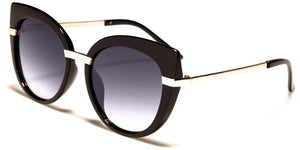 Gold Stripe Large Cat Eye Sunglasses