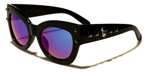 Spike Side Thick Frame Skull Sunglasses