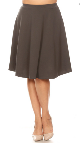 High Waisted Swing Skirt Charcoal