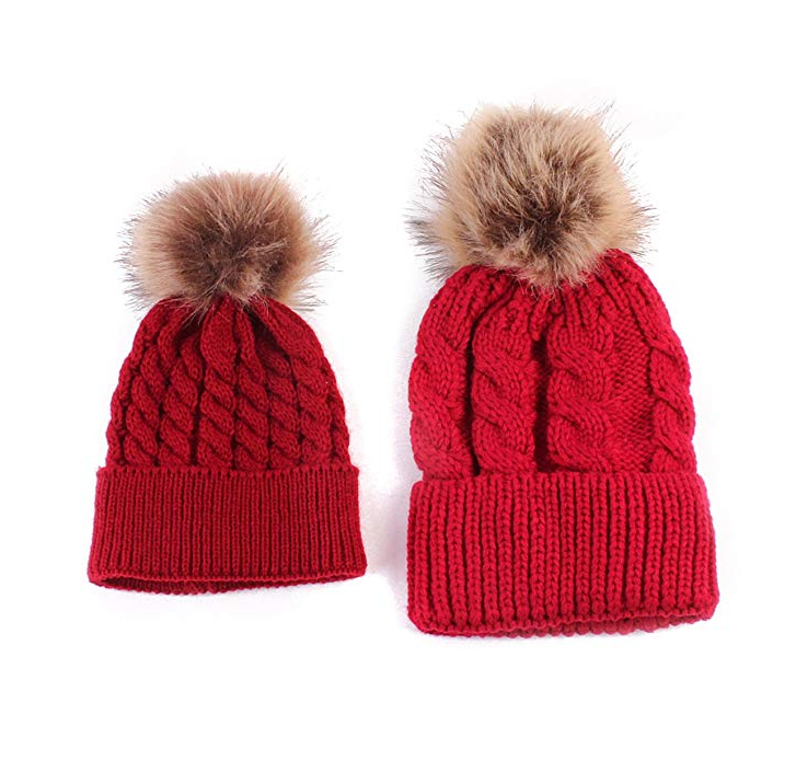 Kids Pom Pom Beanie Red