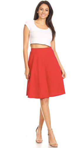 High Waisted Swing Skirt Red