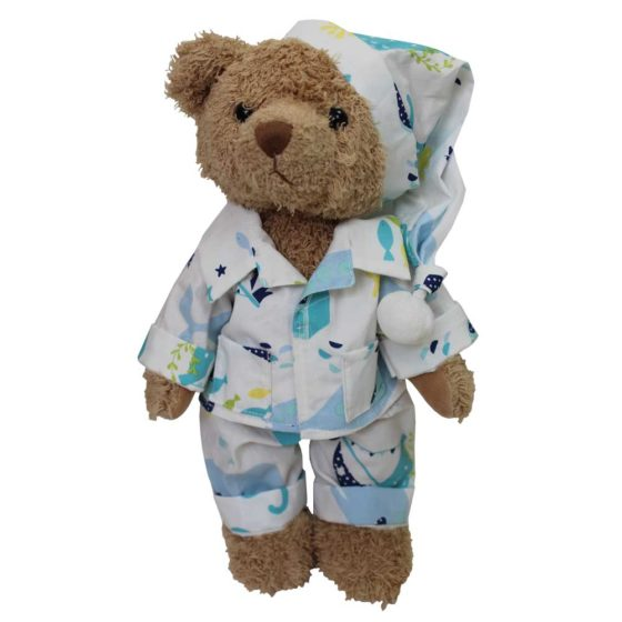Teddy Bear With Deep Sea Pyjamas and Nightcap