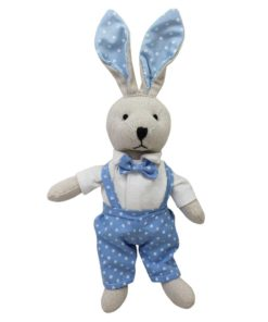 Bunny Rabbit with Blue Dungarees and Bow Tie