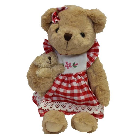 Teddy Bear with red floral dress and baby bear