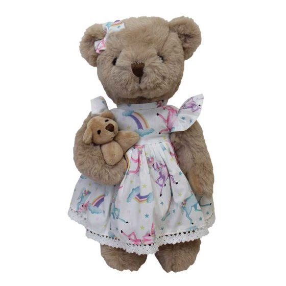 Teddy Bear With Unicorn Print Dress