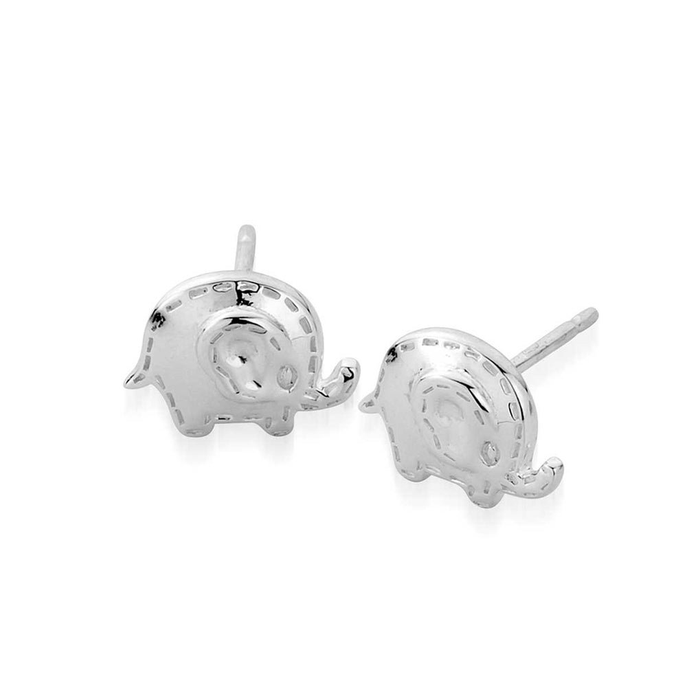 Flat Stud Silver Oli Elephant Earrings