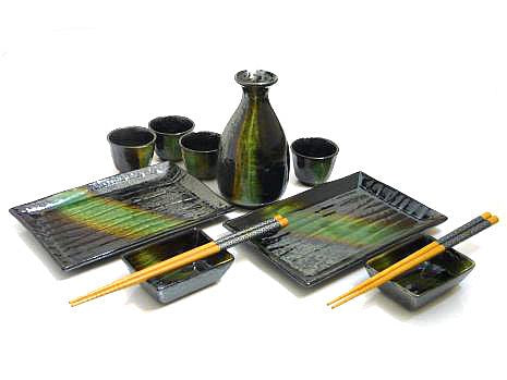 Green-Passage Sushi and Sake Serving Set