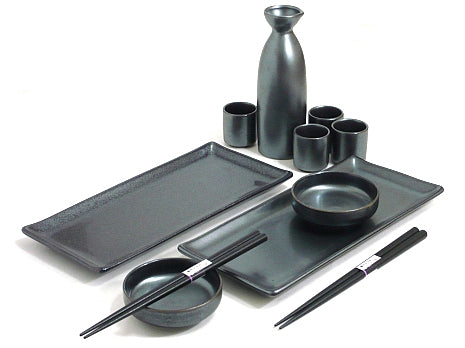 Black Crystal Sushi and Sake Set