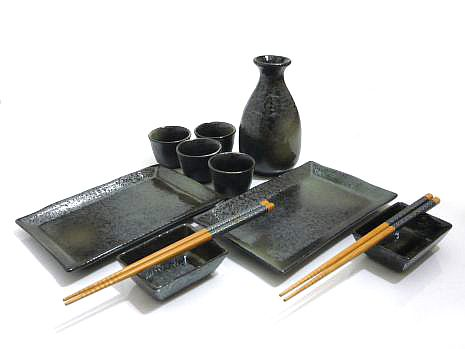 11 PC Black Mist Sushi and Sake Set for Two