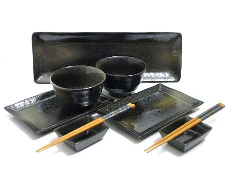 9 PC Black Mist Sushi and Bowl Serving Set for Two