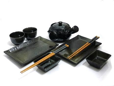 9 Piece Black Mist Sushi and Tea Set for Two