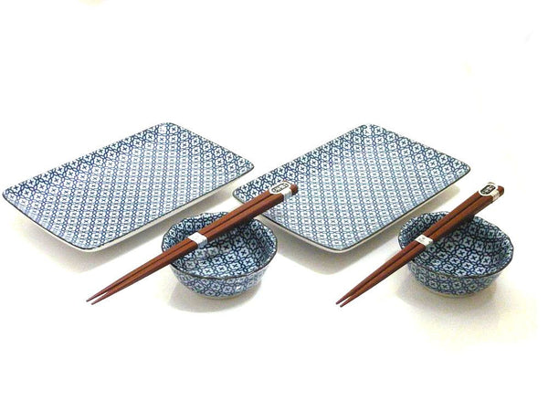 Blue Crosshatch Sushi Set