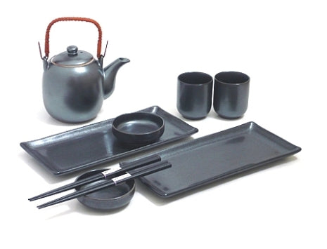 Black Crystal Sushi and Tea Set