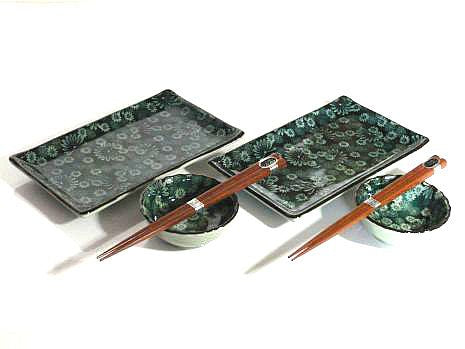 Floral Green Sushi Set for Two