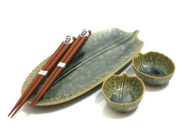 5 pc Green Leaf Sushi Set