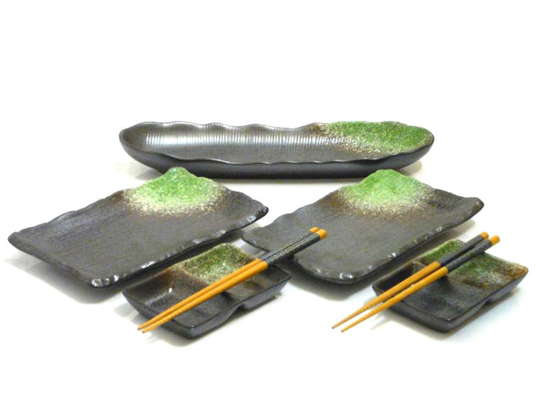 7 pc Green Passage Sushi Serving Set