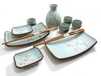 11 PC Pale Green Plum Sushi and Sake Set