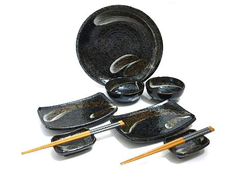 9 PC Sandstone Gray Sushi Serving Set