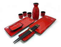 11 PC Scarlet Script Sushi and Sake Set