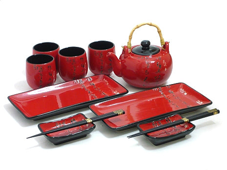 Scarlet Script Sushi and Tea Set