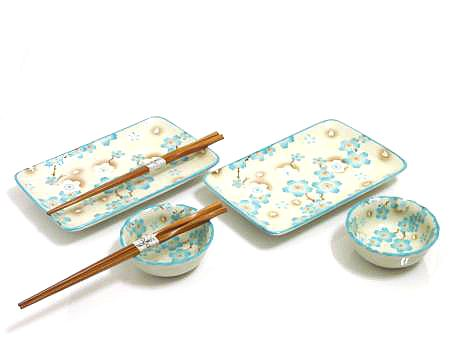 Sky Blue Cherry Blossom Sushi Set for Two