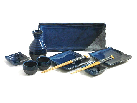 10 Piece Rustic Blue Sushi and Sake Serving Set