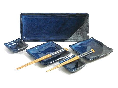 7 Piece Rustic Blue Sushi Serving Set
