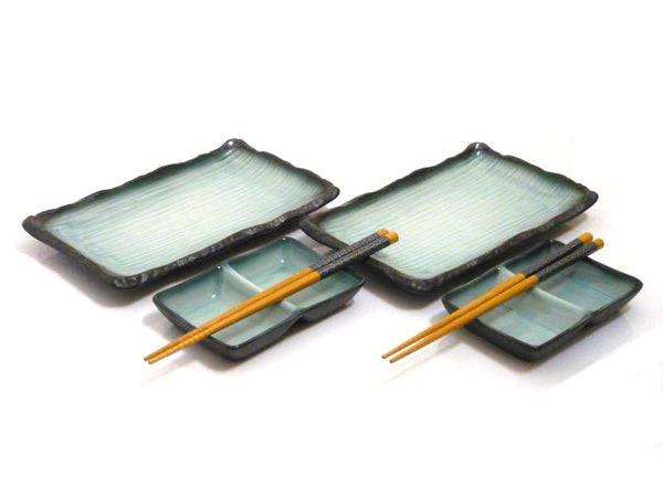 Satin Jade Sushi Dish Set for 2