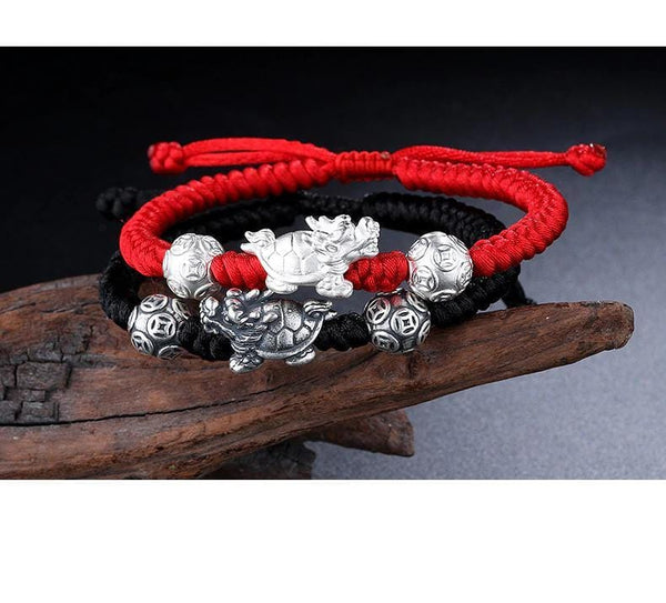 Good Luck Longevity Handmade Silver Turtle  Bracelet