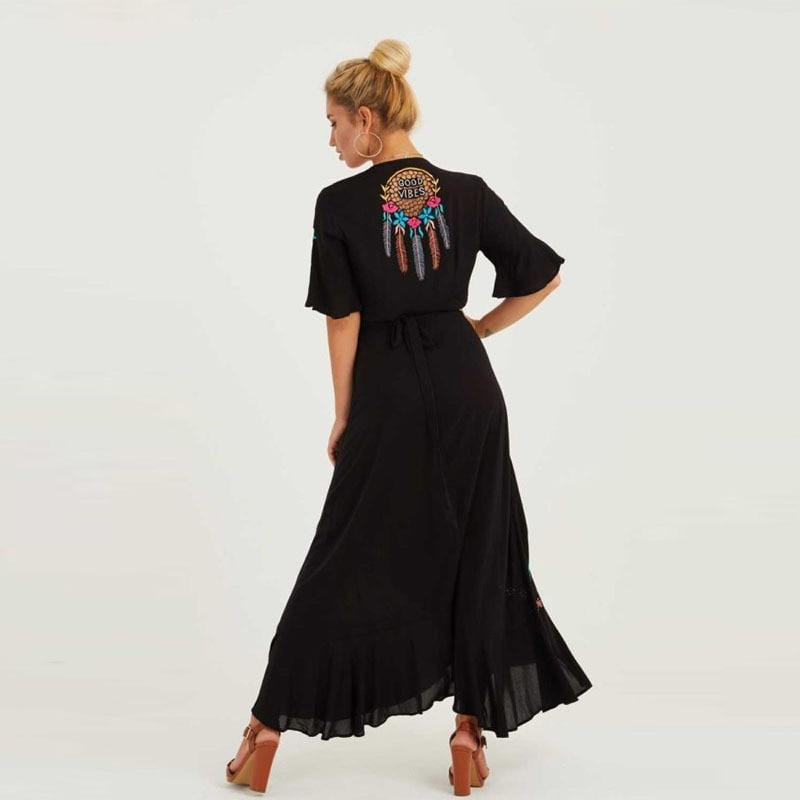 Bohemian Ruffled Floral Embroidered Vintage Maxi Dress