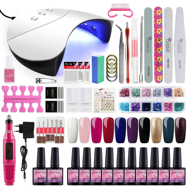 Polygel Nail Polish Manicure Kit with UV LED Nail Lamp Dryer