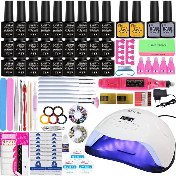 Manicure Nail Gel Set 2454/84W LED Lamp + 27 Colors