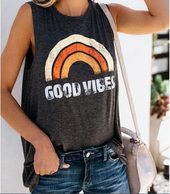 Rainbow Printed Good Vibes Tank Top