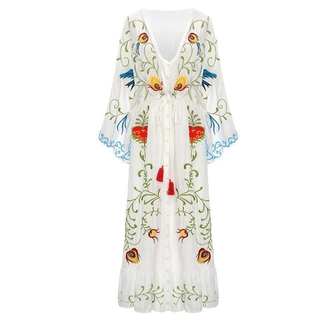 Vintage Style Embroidered Boho Flower Dress